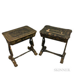 Two Chinese Export Lacquered Sewing Stands