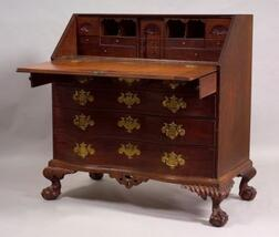Chippendale Mahogany Carved and Mahogany Veneer Slant-lid Oxbow Serpentine Desk