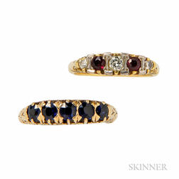 18kt Gold, Ruby, and Diamond Ring and 14kt Gold and Sapphire Ring
