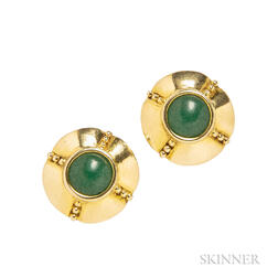 18kt Gold and Aventurine Earclips, Zolotas