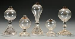 Five Small Free-blown Colorless Glass Lamps with Pressed Glass Bases