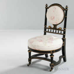 French Napoleon III Ebonized and Parcel-gilt Chair