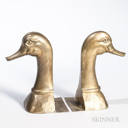 Pair of Brass Goose-head Bookends