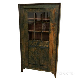 Country Green-painted Glazed Pine One-door Cupboard