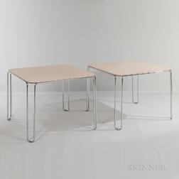 Two Stackable Laminate Hairpin-leg Task Tables