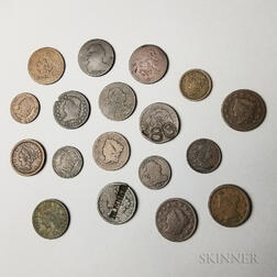 Eighteen Large Cents and Half Cents