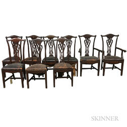 Set of Nine Chippendale-style Leather-upholstered Mahogany Dining Chairs