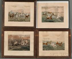 After Henry Alken (British, 1785-1851), Engraved by John Harris (British,, c. 1791-1873) Four Prints from The First Steeple Chase on Re
