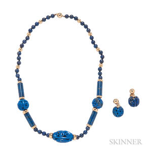14kt Gold and Lapis Necklace and Earrings