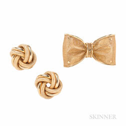 14kt Gold Brooch and Earrings