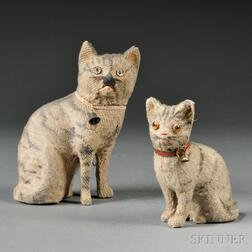 Two Painted Mohair Tabby Cat Toys