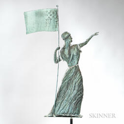 Molded Copper and Zinc Goddess of Liberty Weathervane