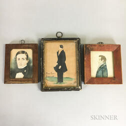 Three Miniature Watercolor Portraits of Gentlemen