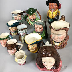 Twelve Staffordshire Ceramic Face Jugs