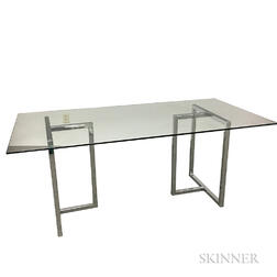 Glass Desk with Chrome Base