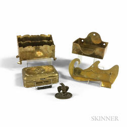 Five Brass Desk and Wall Items