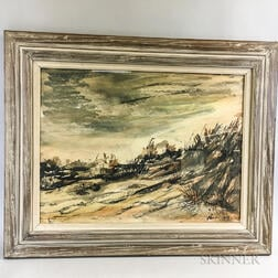 Framed Rubi Roth (New York, 20th Century) Watercolor Dunes