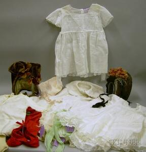 Two Victorian Bonnets and Antique Child's Clothes