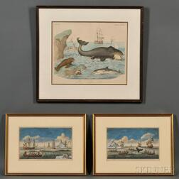 Three Whaling Prints:      A WHALE swimming with great Force & Celerity...