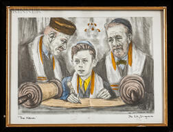 Two Framed Works with Jewish Subjects:    Portrait of a Rabbi