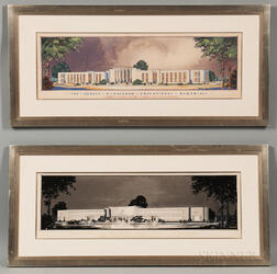 Malcolm Roderick Stirton (American, 20th Century) Two Architectural Renderings for the Horace H. Rackham Educational Memorial, Designed