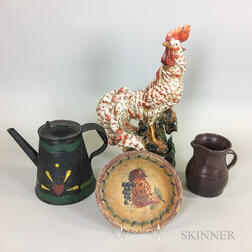 Tole Pot, a Paint-decorated Wood Bowl, an Albany-glazed Redware Pitcher, and a Ceramic Rooster