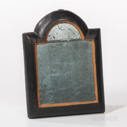 Miniature Black-painted Queen Anne Country Looking Glass