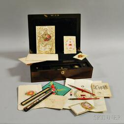 Regency Brass-inlaid Rosewood Lap Desk and Writing Accoutrements