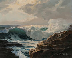 William Columbus Ehrig (American, 1892-1973)      Waves Crashing on a Rocky Shore