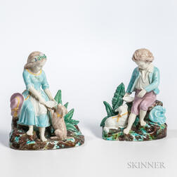 Pair of Majolica Figures