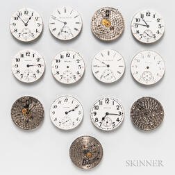 "Thirteen Hamilton 16 Size ""900"" Series Watch Movements and Dials"