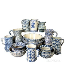 Fifteen Spongeware Ceramic Items.