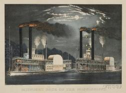 Currier & Ives, publishers (American, 1857-1907)      Midnight Race on Mississippi.