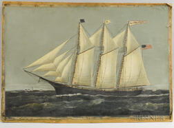 Attributed to William P. Stubbs    Three-masted Vessel Jennie R. Morse