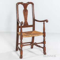 Carved and Turned Maple Armchair