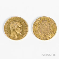 1857-A and 1859-BB 50 Franc Gold Coins