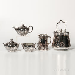 Five Wedgwood Silver-plated Stoneware Items