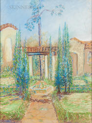 Margaret Jordan Patterson (American, 1867-1950)      Two Drawings: Spanish-style Courtyard and Fountain
