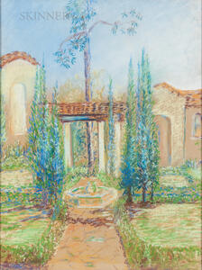 Margaret Jordan Patterson (American, 1867-1950)      Spanish-style Courtyard and Fountain
