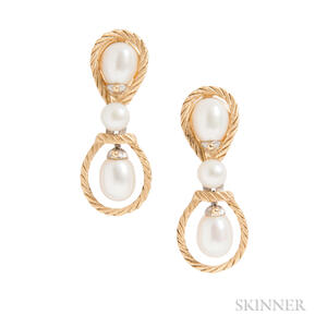 18kt Bicolor Gold and Cultured Pearl Earrings, Attributed to Buccellati
