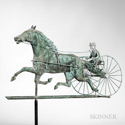 Molded Copper Horse and Sulky Weathervane