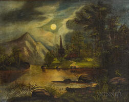 American School, 19th Century      Primitive-style Moonlit Landscape with Pond and Distant Spire