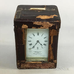 T. Martin & Co. Leather-cased Brass and Glass Carriage Clock