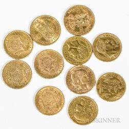 Eleven French, Belgian, and Dutch Gold Coins