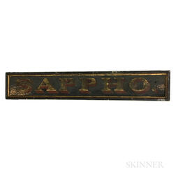 "Stenciled, Painted, and Gilt Pine ""SAPPHO"" Sign"