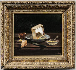 American School, 19th Century      Two Framed Still Life Paintings:   Still Life with Bread