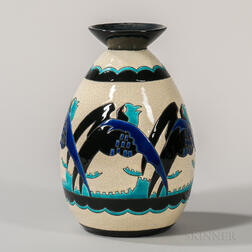 Boch Freres Keramis Vase with Stylized Birds