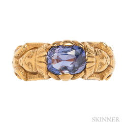 Egyptian Revival Gold and Color Change Sapphire Ring