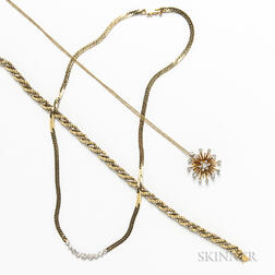 Two 14kt Gold and Diamond Necklaces and an 18kt Gold Bracelet
