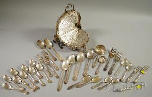 Group of Silver and Silver-plated Flatware and a Silver-plated Serving Piece